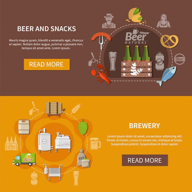Bannières de bière plates
