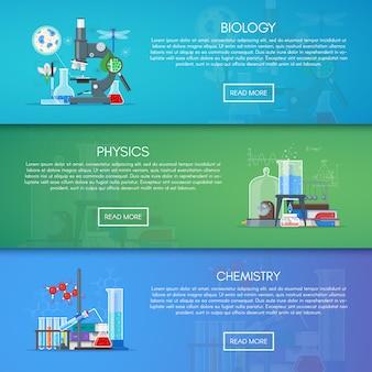 Bannières de biologie, chimie et physique. concept d'enseignement des sciences dans la conception de style plat.