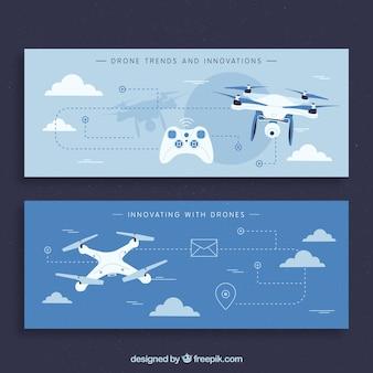 Bannières bleues avec drones modernes