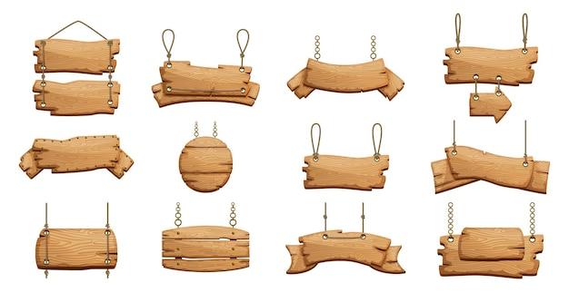 Bannières en bois. panneaux vierges avec des cordes de chaînes.