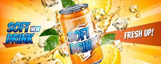 Bannières de boissons gazeuses avec des glaçons et des éléments d'agrumes en illustration