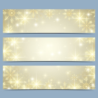 Bannières de bonne année avec des flocons de neige dorés. modèle moderne.