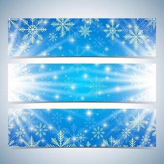 Bannières de bonne année. fond bleu avec des flocons de neige. modèle vectoriel de conception moderne.