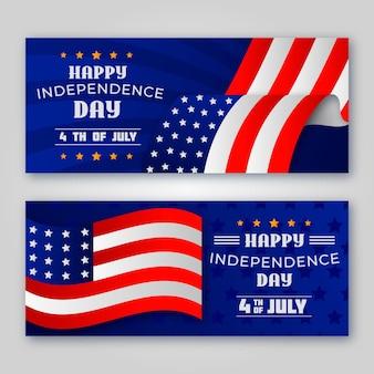 Bannières de bonne fête de l'indépendance avec des drapeaux