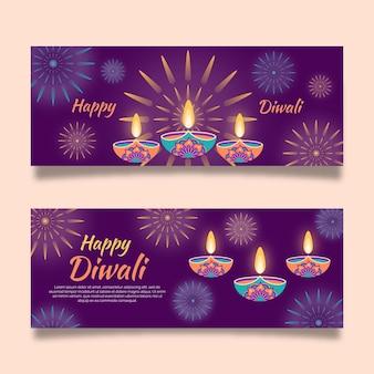 Bannières de bougies joyeuses diwali