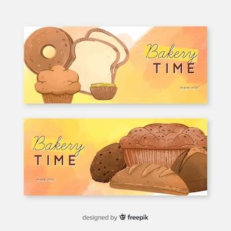 Bannières de boulangerie aquarelle
