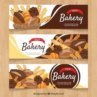 Bannières de boulangerie dans le style plat