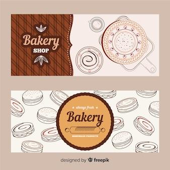 Bannières de boulangerie dessinés à la main réaliste