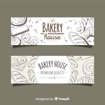 Bannières de boulangerie dessinés à la main