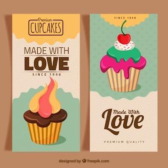 Bannières de boulangerie avec des petits gâteaux dessinés à la main