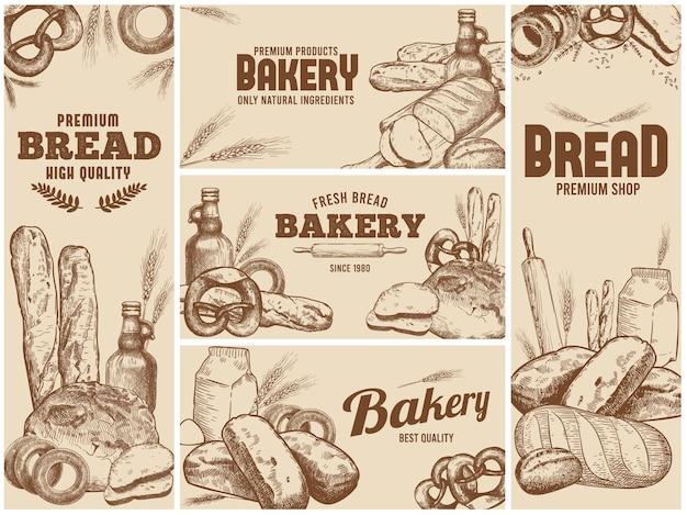 Bannières de boulangerie sertie de pain frais dessiné à la main et d'ingrédients naturels pour la cuisson