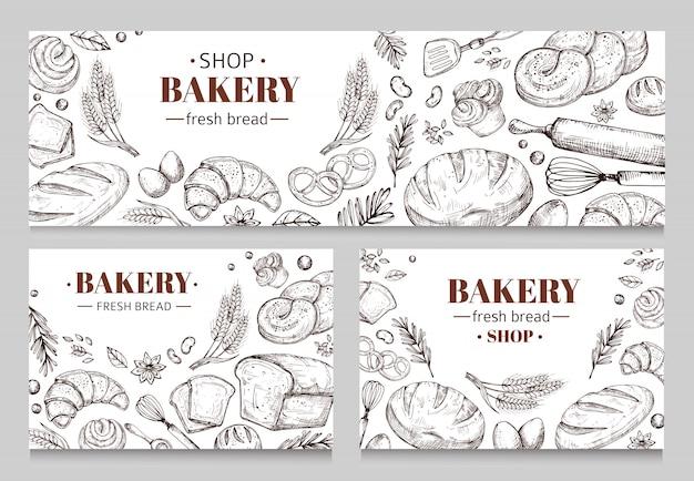 Bannières de boulangerie vintage avec ensemble de pain esquissé