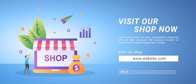 Bannières de boutique en ligne, invitez les gens à visiter les magasins en ligne. bannières pour supports promotionnels