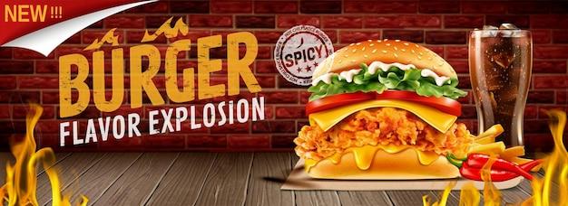 Bannières de burger au poulet frit chaud avec effet de feu brûlant en illustration 3d