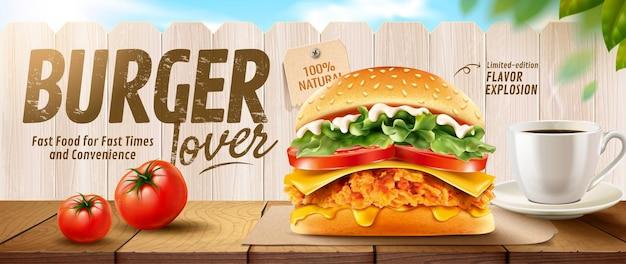 Bannières de burger au poulet frit sur table en bois et clôture blanche en illustration 3d