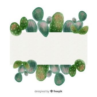Bannières de cactus aquarelle avec bannière vierge