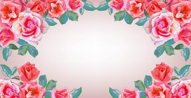 Bannières de cadre de bouquets de fleurs roses
