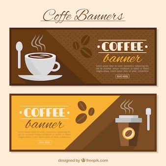 Bannières café décoratives en design plat