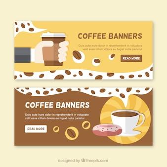 Bannières café en design plat