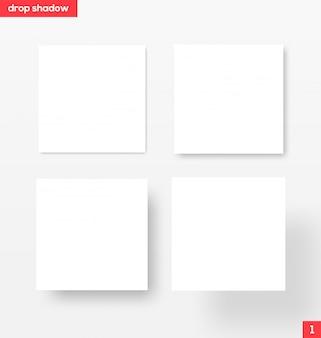 Bannières carrées blanches avec ombre portée - illustration. matériel .