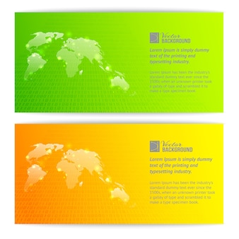 Bannières avec des cartes globe