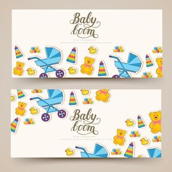 Bannières de cartes de la semaine mondiale de l'allaitement. éléments enfants de flyear, magazines, affiches, livre, bannières.