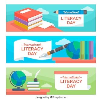 Bannières célébrant le jour de l'alphabétisation