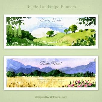 Bannières de champs ensoleillés à l'aquarelle