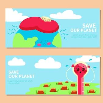 Bannières de changement climatique dessinées à la main