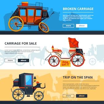 Bannières avec chariot. bannières horizontales