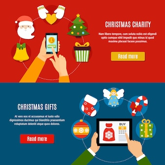 Bannières de charité et de cadeaux de noël