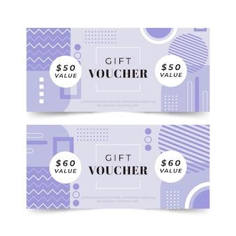Bannières de chèque-cadeau abstrait design plat