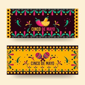 Bannières cinco de mayo au design plat