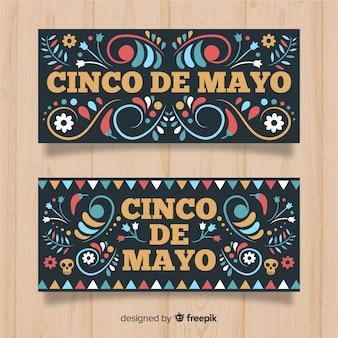 Bannières cinco de mayo dessinées à la main