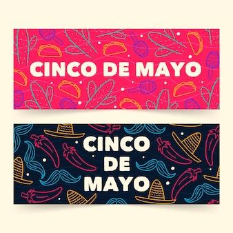 Bannières de cinco de mayo dessinés à la main