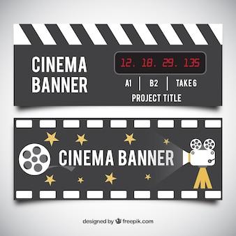 Bannières cinéma avec caméra et étoiles