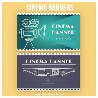 Bannières de cinéma avec des croquis