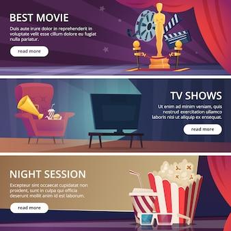 Bannières de cinéma. film vidéo et théâtre divertissement icônes de dessin animé lunettes 3d pop-corn clapper mégaphone modèle vectoriel