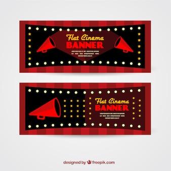 Bannières de cinéma avec mégaphones