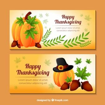 Bannières de citrouille de thanksgiving