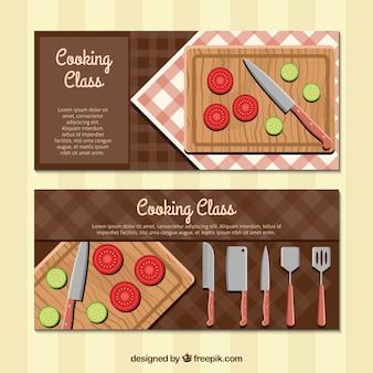 Bannières de classe de cuisine flat