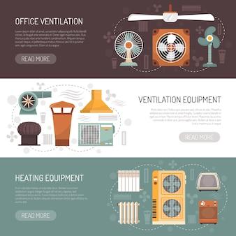 Bannières de climatisation et de chauffage