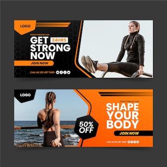 Bannières de club de fitness dégradé avec modèle photo