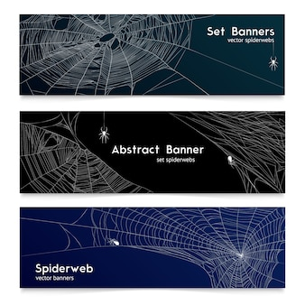 Bannières cobweb en toile d'araignée réaliste