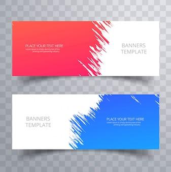 Bannières colorées abstraites définies modèle de conception