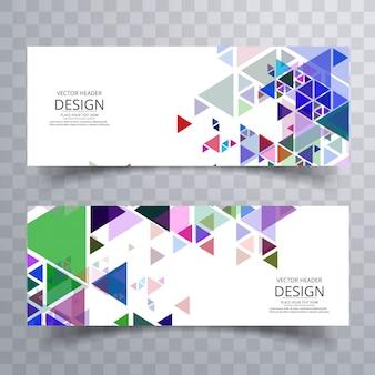 Bannières colorées abstraites définies vecteur de conception