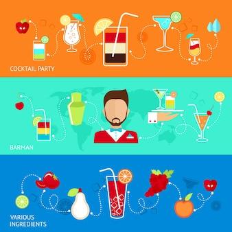 Bannières colorées avec des cocktails et des ingrédients
