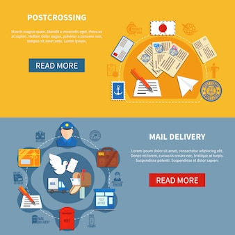 Bannières colorées de la communication postale