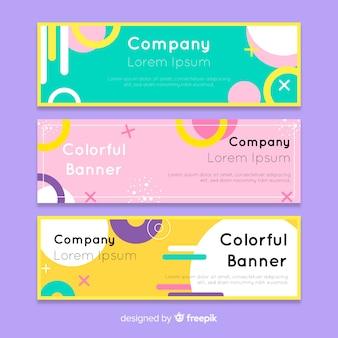 Bannières colorées avec dessin abstrait