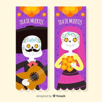 Bannières colorées de día de muertos dessinées à la main